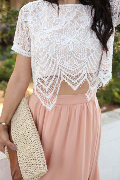 The HONEYBEE // Lace Crop Top   High Waist Maxi Skirt (@andeelayne ...