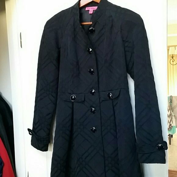 SALE! GORGEOUS Betsey Johnson coat Black with jeweled buttons.  Cross hatch pattern on coat.  Coat flares out at waist.  Stylish and lovely.  Hate to give it up, but I've gained weight.   Worn once.  No paypal.  Price firm. Betsey Johnson Jackets & Coats Trench Coats