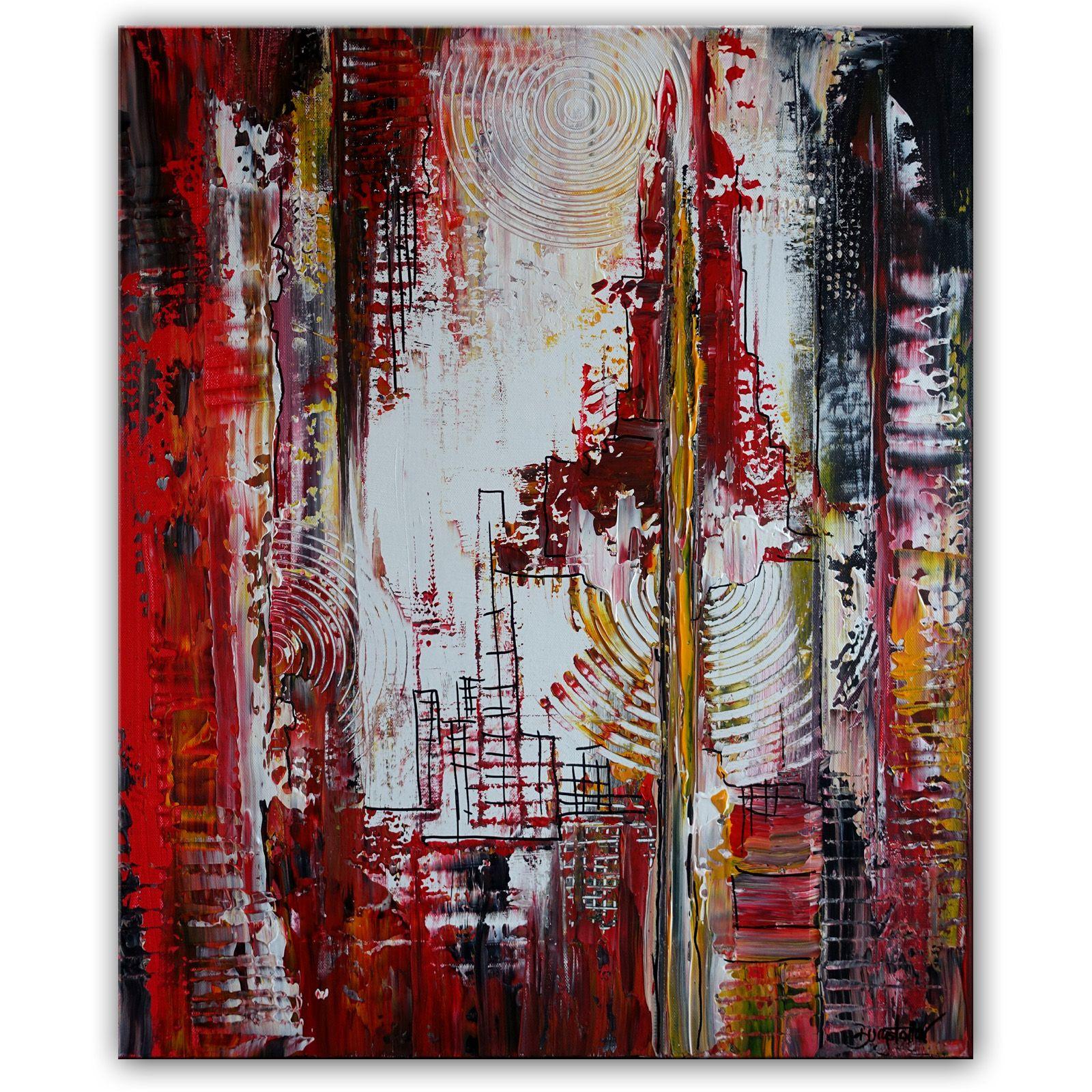 rot weiss grau schwarz abstrakte malerei leinwandbild gemalde 40x50cm abstract artwork art bilder gold gemälde berge abstrakt