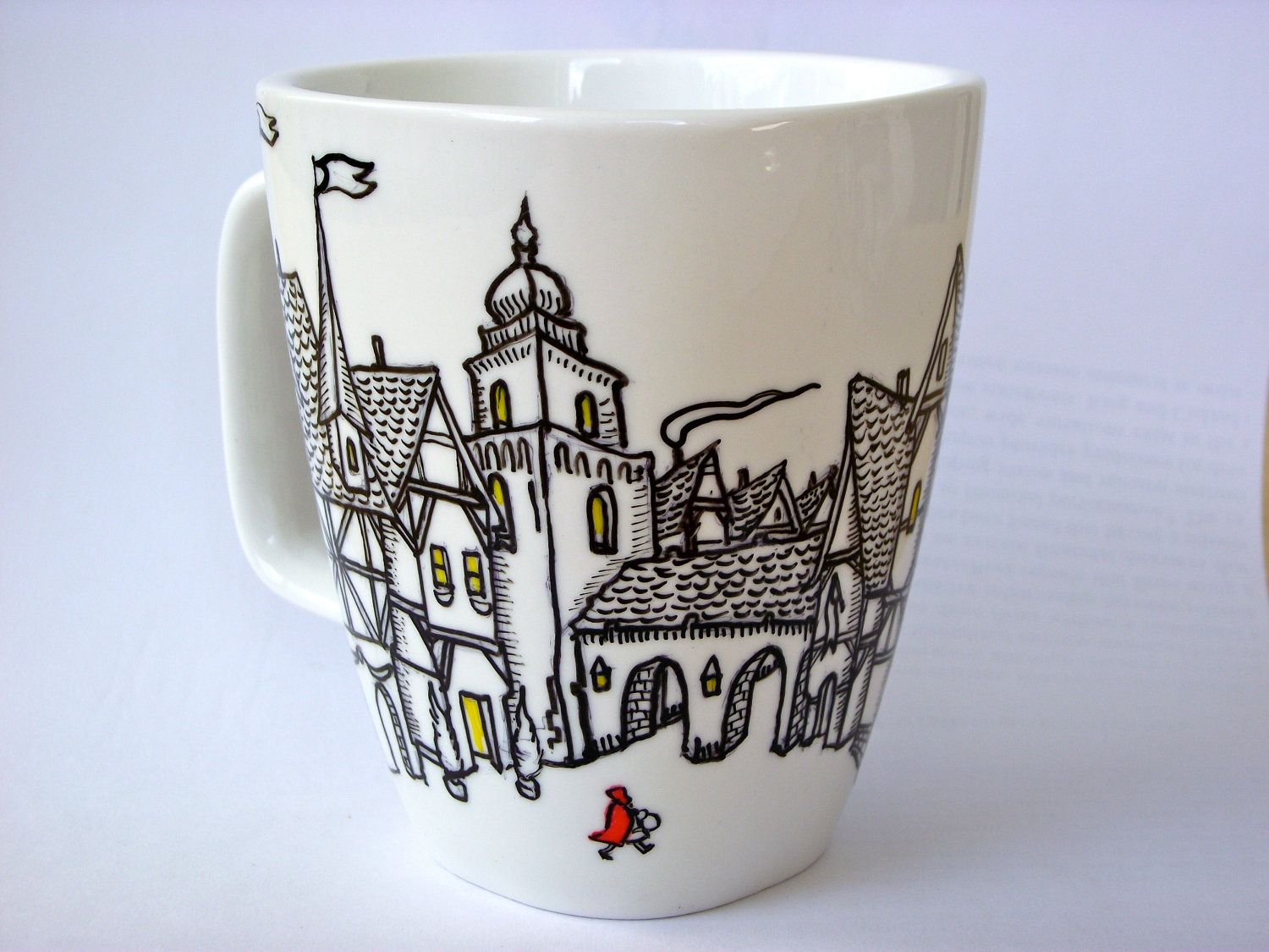 Little Red Riding Hood Hand Painted Coffee Mug by OverseasSipping