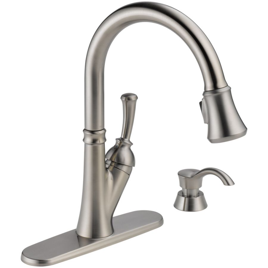 Delta White Kitchen Faucets Delta Savile Stainless 1 Handle Pull Down Kitchen Faucet New