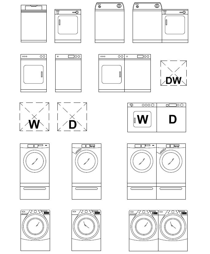 Archblocks Autocad Washer Dryer Block Symbols Floor Plan Symbols Interior Design Drawings Autocad
