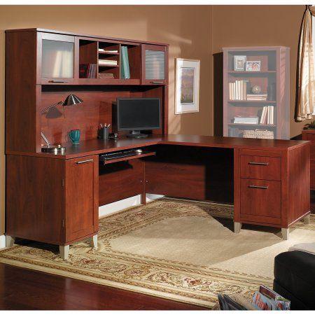 Bush Furniture Somerset 71W L Shaped Desk with Hutch in Hansen