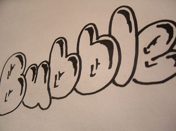 Bubble letters. Wow I forgot about this! Yes, a 53 year old can still make them! lol