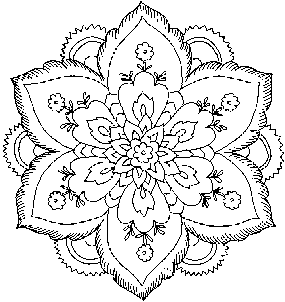 Abstract flower coloring pages - Mandala Or Flower Abstract Coloring Pages For Adults Printable Kids Colouring Pages