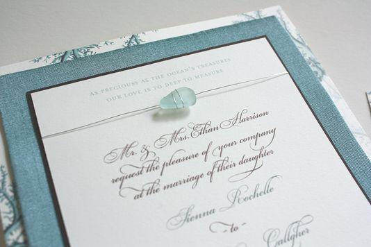 Sea Glass Wedding Invitation By Paper Melange Non Beachy