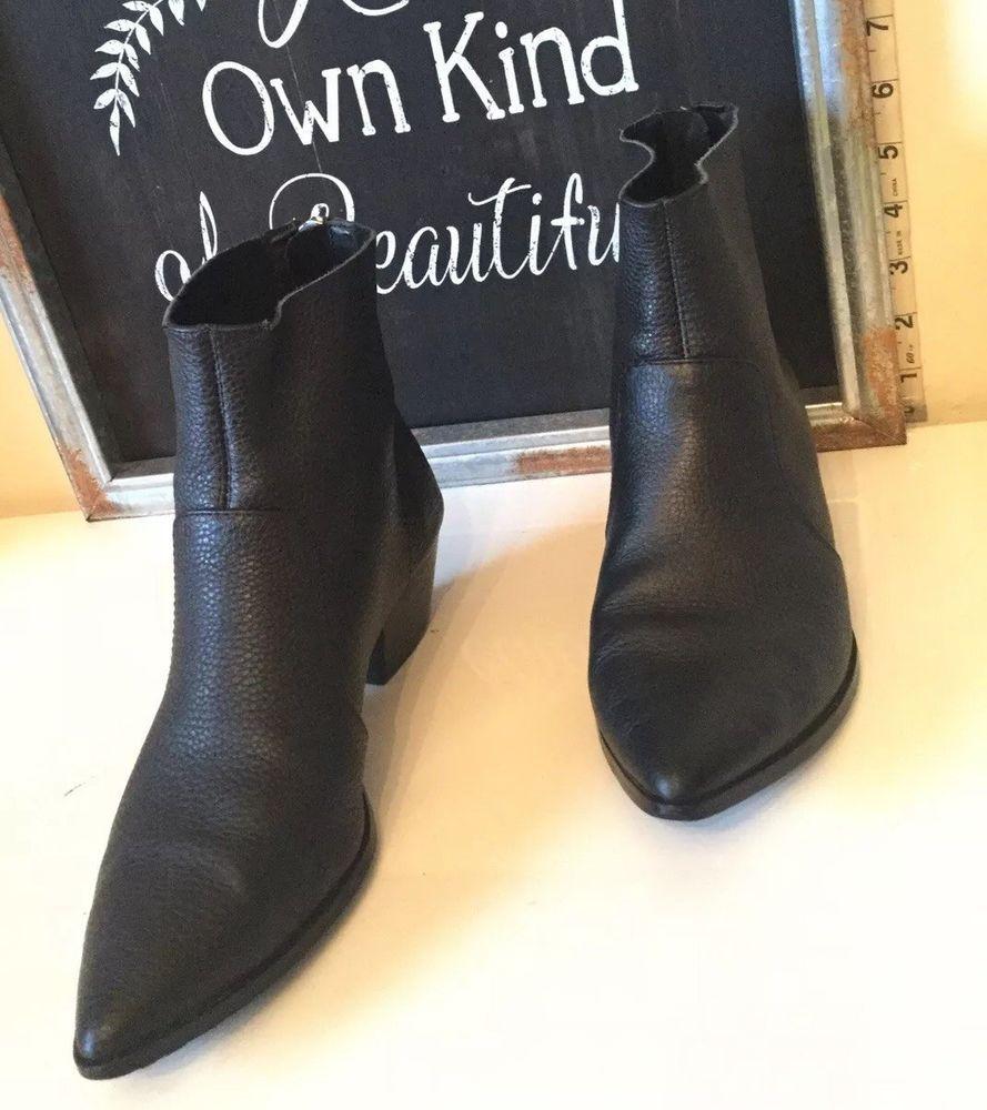81edb1043e5 $130 Steve Madden Cafe Pointed Toe Leather Black Bootie Women Size ...