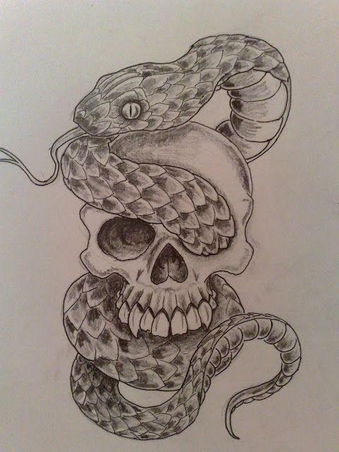 Poison Snake And Skull Tattoos Snake Tattoo Snake Tattoo