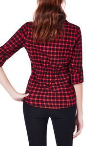 Everyone needs a plaid button up in their closet. The red and black cinched back checkered shirt, is a got to staple. Have no clue what to wear out, take this out the closet with skinny legs and a some flats. Throw a simple black scarf around your neck, some hoops, light make up. @justfabonline #justfabapparel