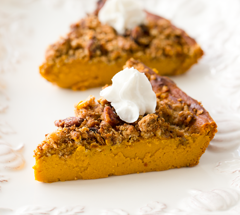 Thanksgiving Desserts Pecan Pie Pumpkin Pie More: Crustless Pumpkin Pie With Pecan Streusel