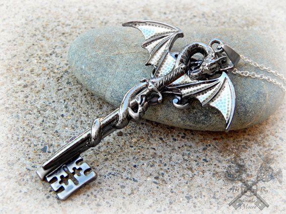 Family Guardian Dragon Key Necklace / Love by ArtbyStarlaMoore