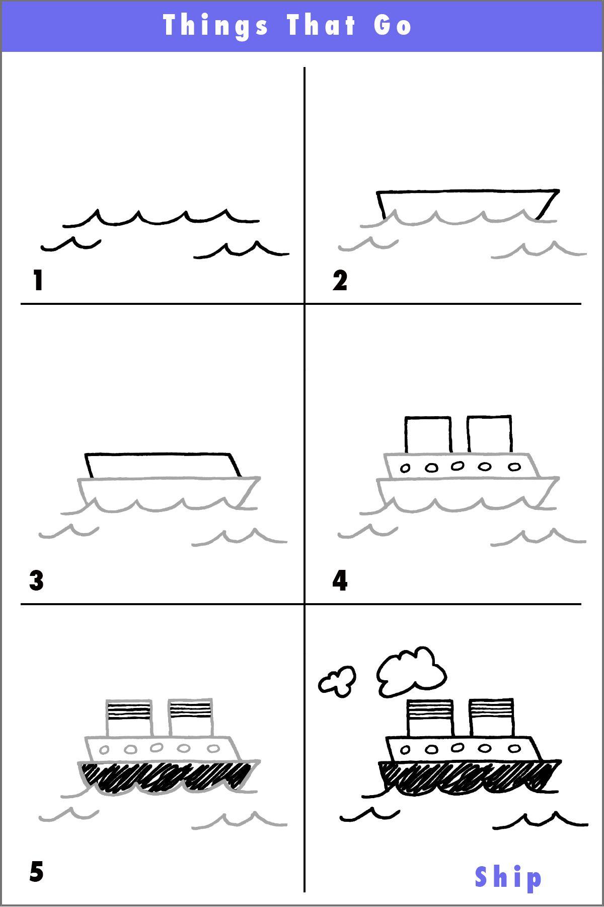 Draw A Fun Ship Basit çizimler Draw Cartoon Drawings Ve Ship