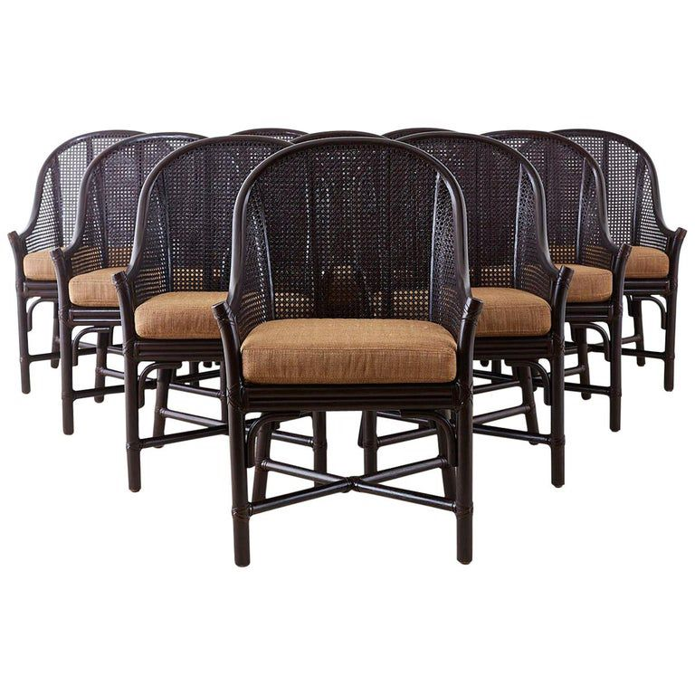 Set Of 10 Mcguire Rattan Cane Belden Dining Chairs In 2020 Rattan Dining Chairs Dining Room Chairs Modern Dining Chairs