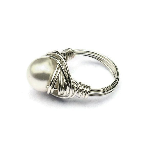 Pinterest Wire Rings | Wire Wrapped Ring White Pearl Ring Large ...