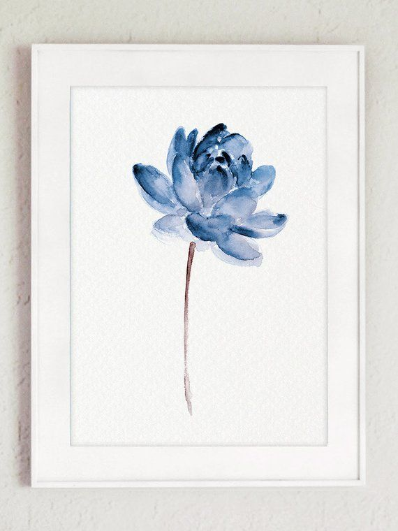 Lotus Set of 2 Watercolor, Blue Water Flowers Canvas Art Print, Modern Floral Wall Illustration Decoration, Abstract Flower Poster - Margaret Hole ... - -