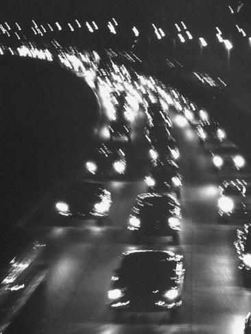 Photographic Print: Night Traffic on the Major Deegan Expressway by Yale Joel : 24x18in