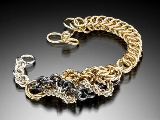 Taghdach A Free Form Chainmaille Bracelet In Silver And Gold By Diana Ferguson X