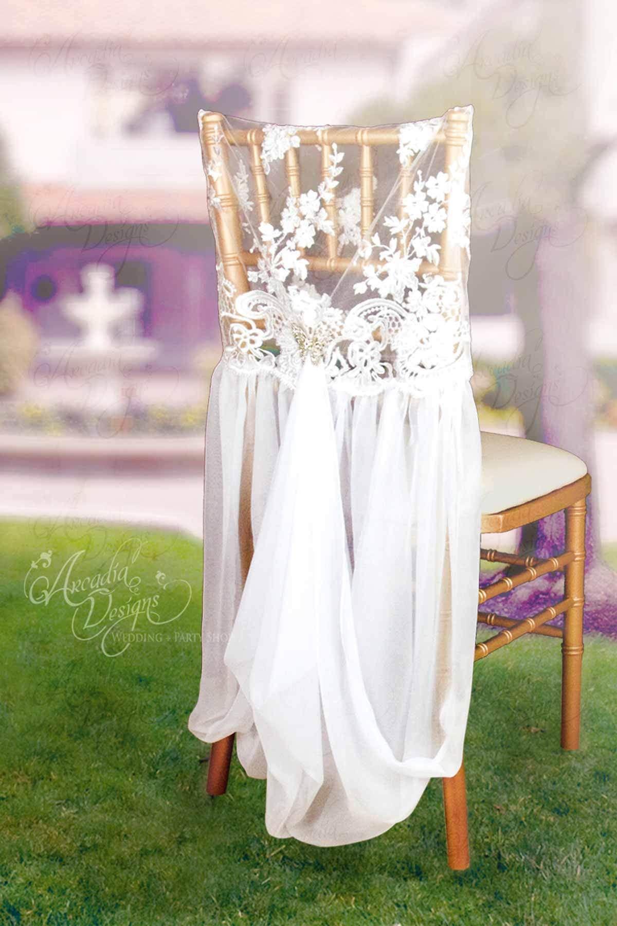 Wedding chair decorations diy  Lace Chair Cover with Chiffon Drape  decoracion de sillas