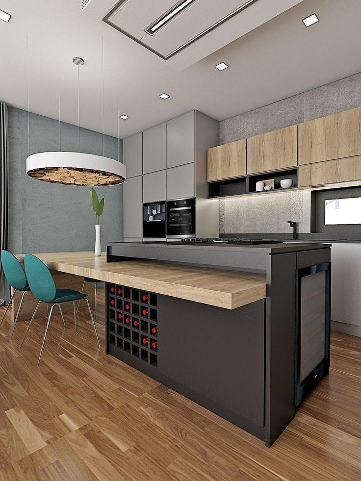 Photo of Diseño de cocina muy interesante con mesa de comedor en la isla de la cocina. El isl …