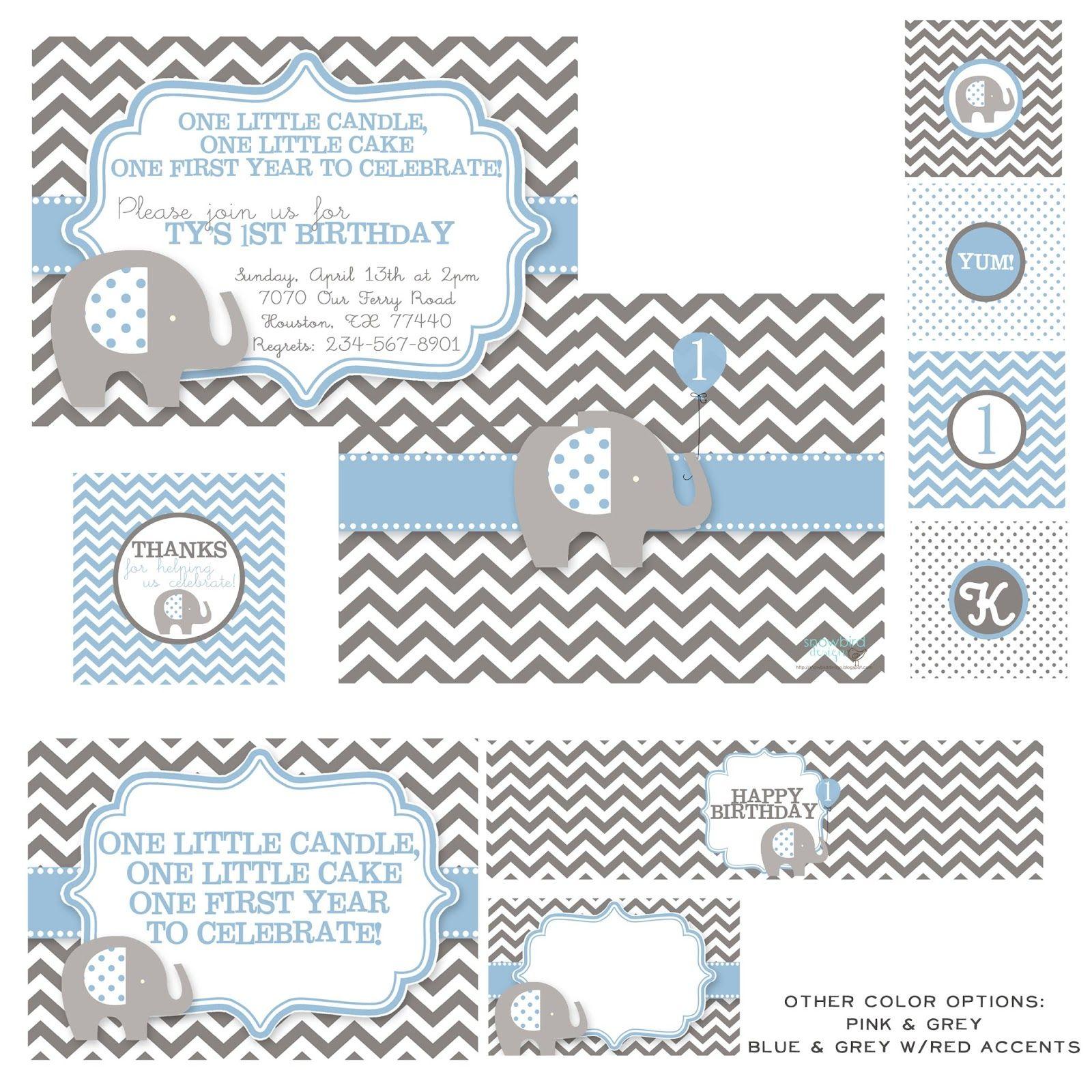 Elephant Theme 3rd Birthday Party: Snowbird Design: Boy Birthday Themes, Elephant Party