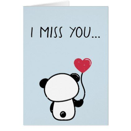 Lonely Panda Bear Miss You Greeting Card  Zazzle.com  Panda gifts, Miss you gifts, Drawings