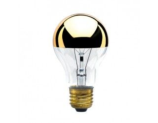 Bulbrite 712416 60a19hg 60 Watt 120 Volt Incandescent A19 Medium E26 Clear Half Gold Light Bulb Decorative Light Bulbs Incandescent Light Bulb