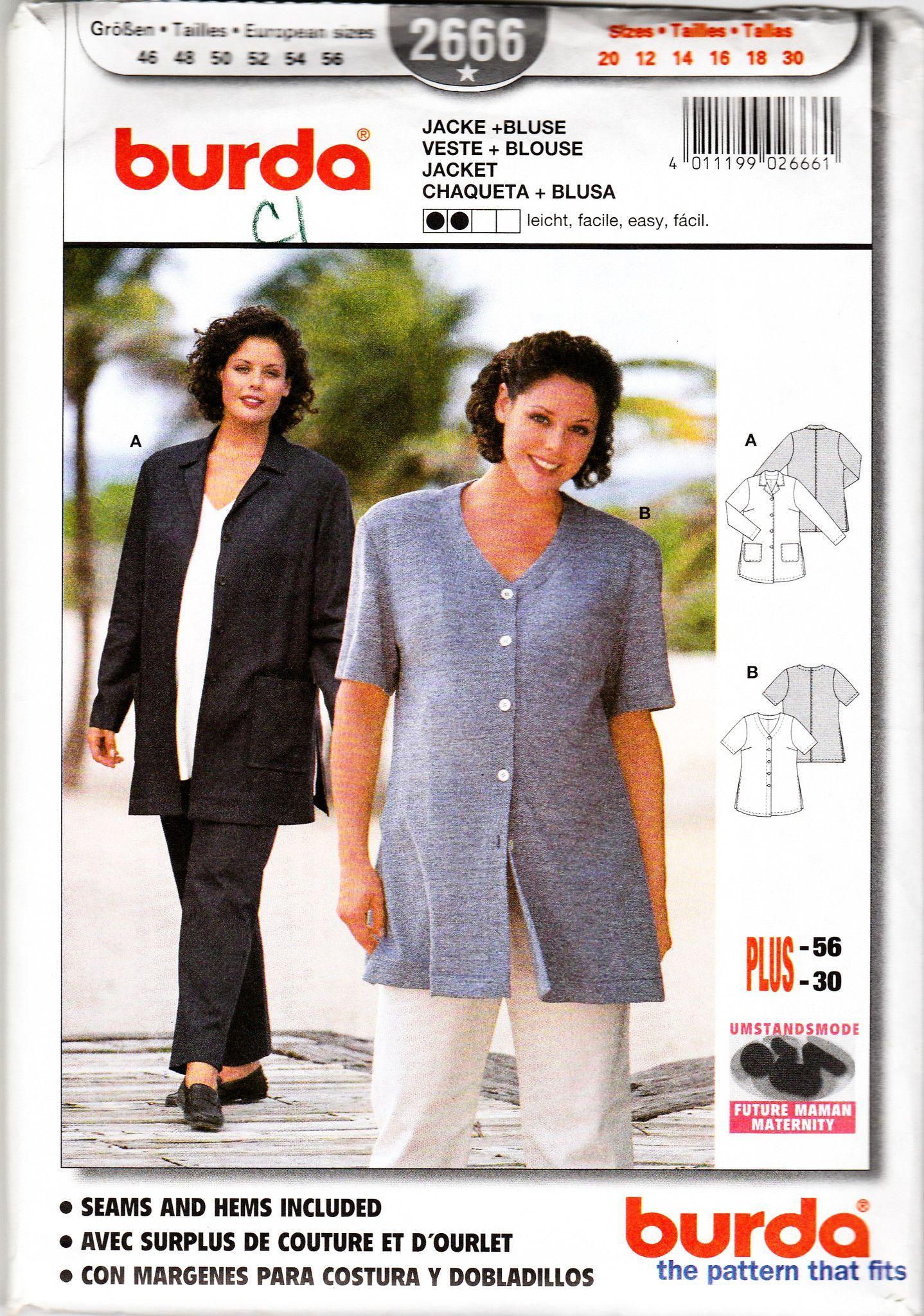 Women Plus Sizes Jacket Top Sewing Pattern Burda 2666 Sewing Pattern ...