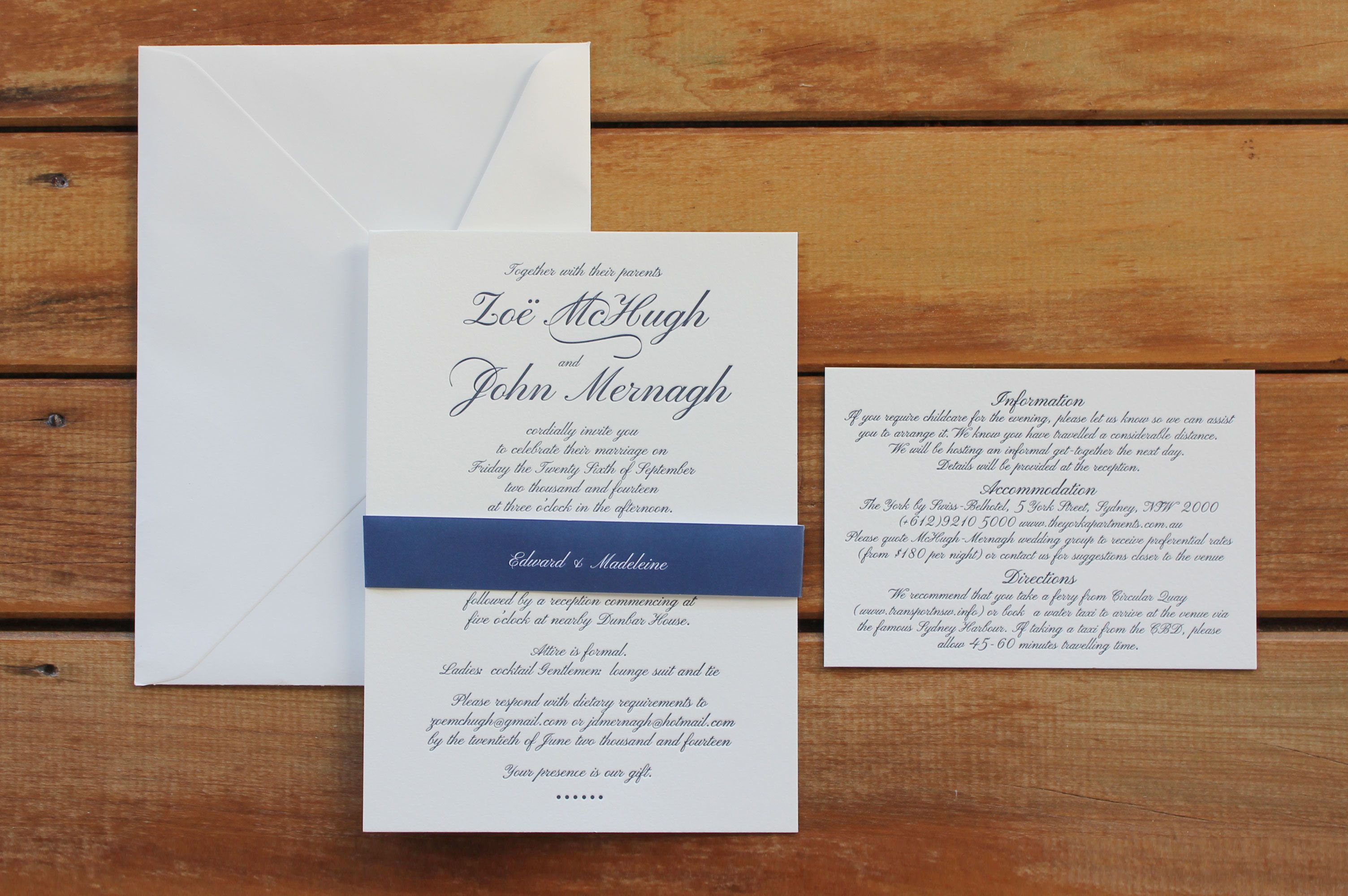 Navy Classic Script {Letterpress} {Designed and Printed by Little ...