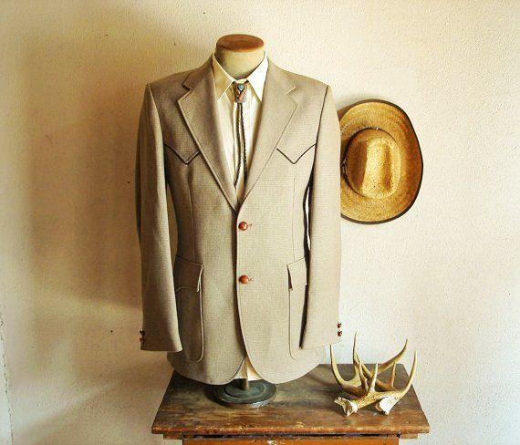 1970s Western Suit Jacket Blazer Mens Vintage Tan Brown