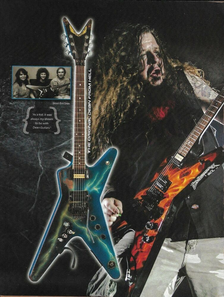 dimebag darrell dean from hell dime razorback bumblebee firefly 2 page guitar ad dean dean. Black Bedroom Furniture Sets. Home Design Ideas