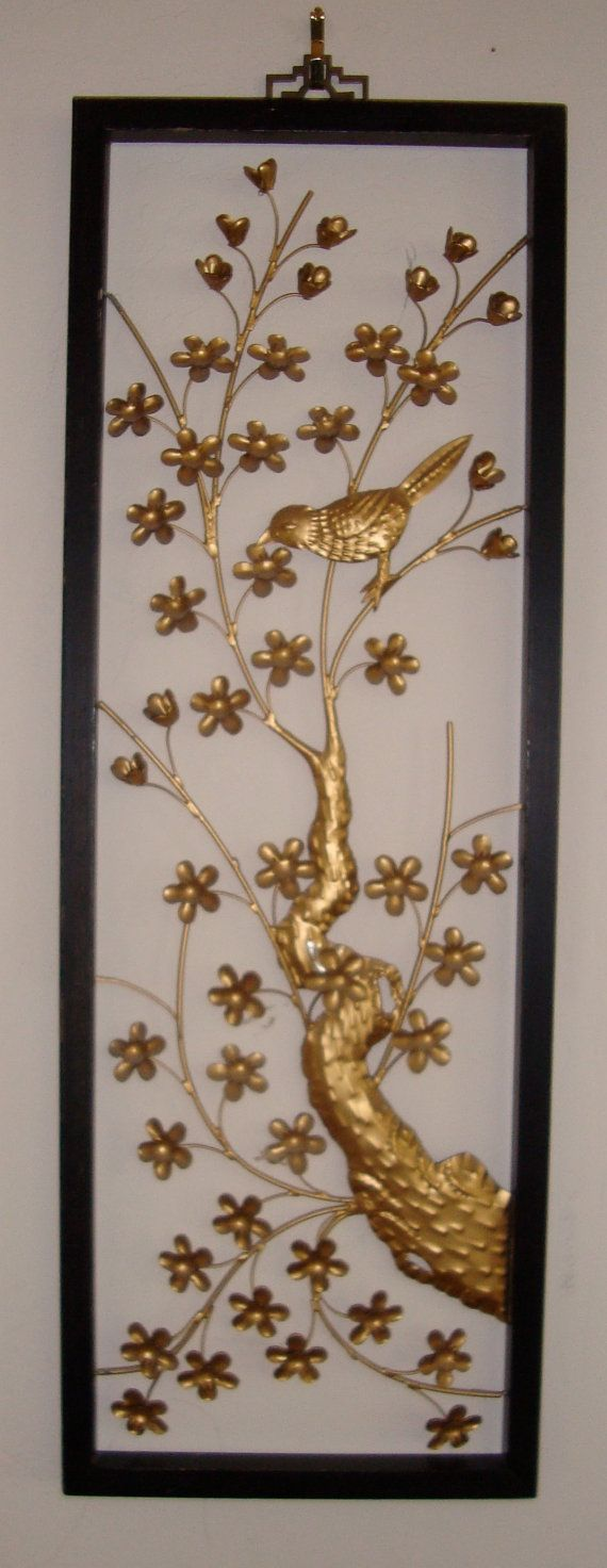 Gorgeous Vintage Asian Metal Sculpture Wall Art Bird And Etsy Wall Sculpture Art Metal Sculpture Metal Sculpture Wall Art