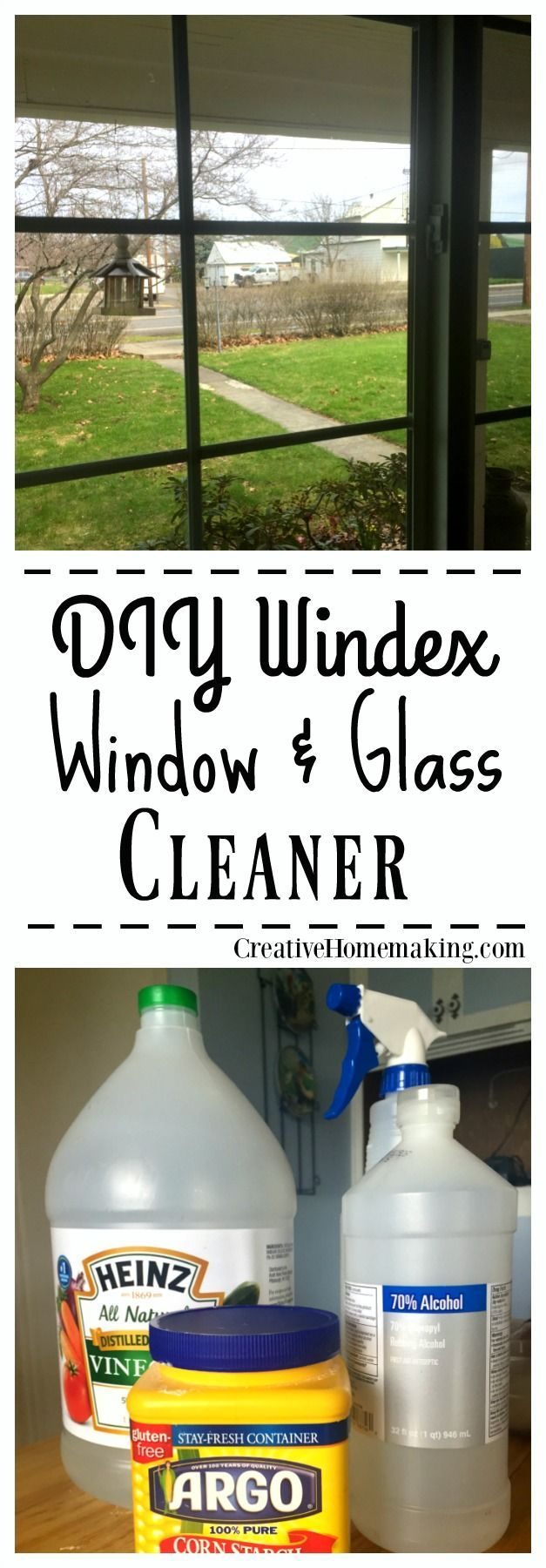Info's : This DIY window and glass cleaner cleans as well as Windex. It is also non-toxic and costs less than fifty cents a bottle to make.