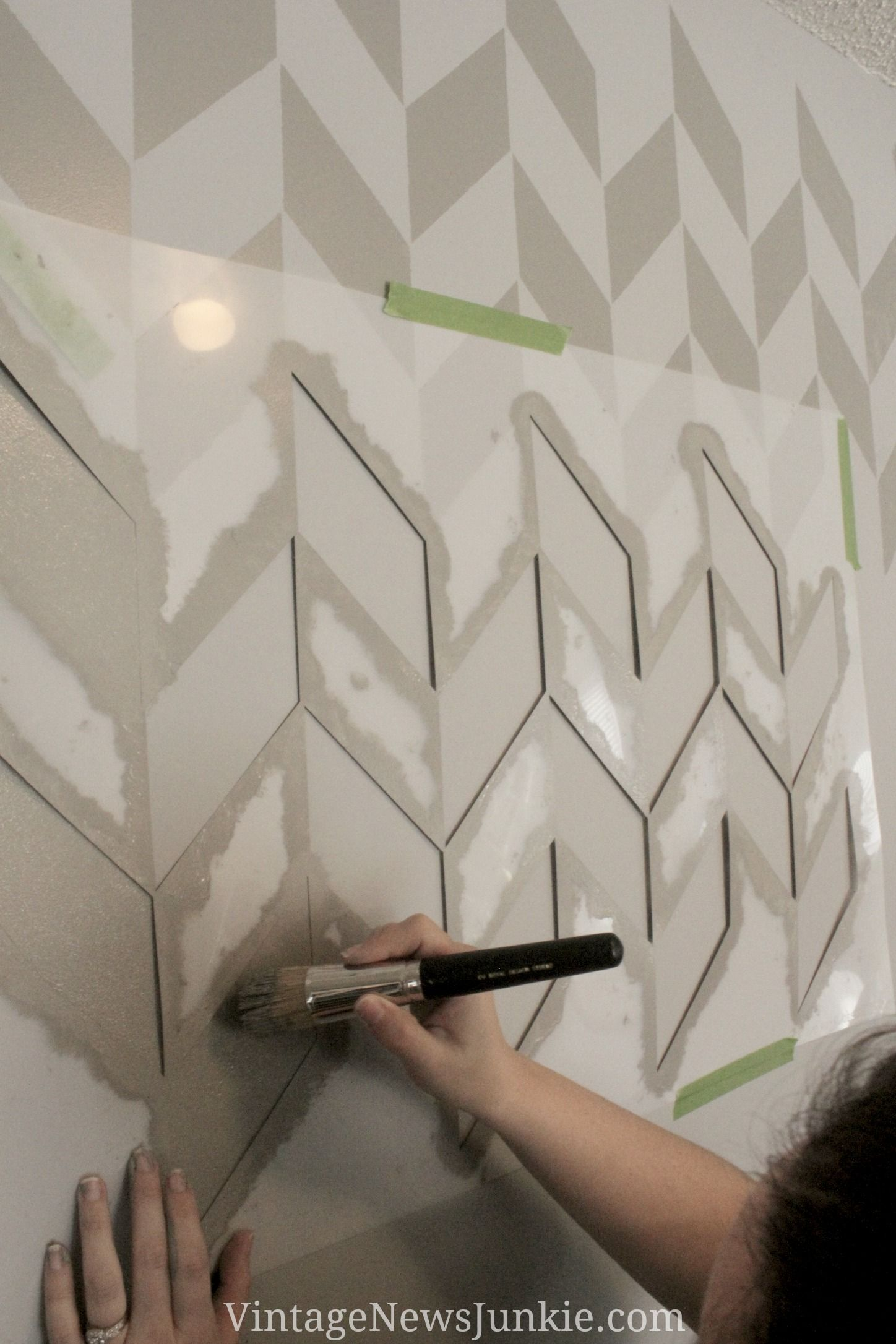 How To Paint A Wall Using A Stencil Herringbone Pattern Wall