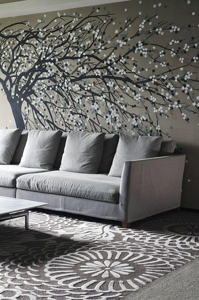 graues-Interieur-bequemes-Sofa-Tapeten-Baum-Zeichnung-japanische ...
