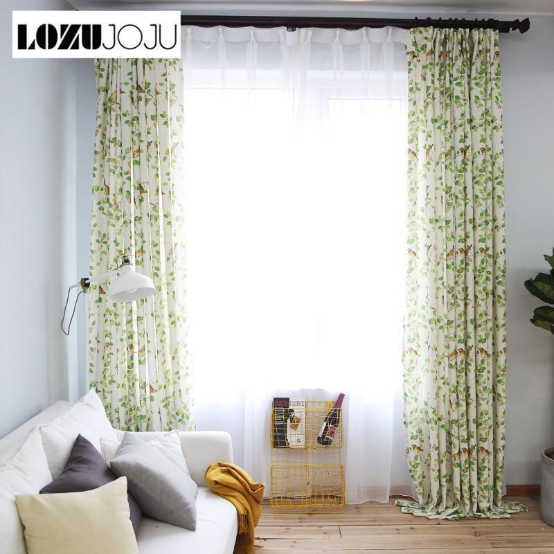 LOZUJOJU Free Shipping Bedroom Curtain American Living Balcony Bird Kid Window Spring Green Curtains Modern