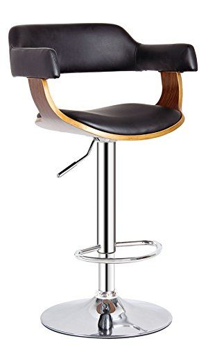 """AC Pacific Contemporary Hydraulic Lift Adjustable Swivel Barstool with Padded Armrests, Seat and Back, 24""""-32"""", Wood"""