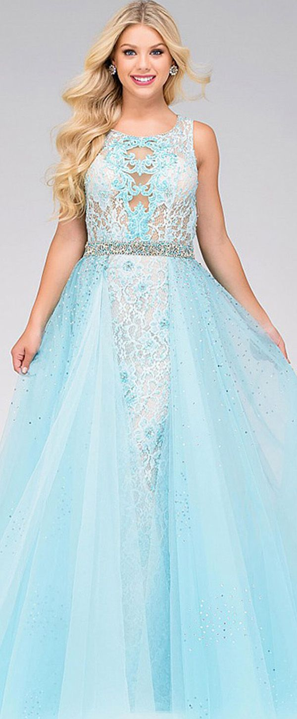 Chic Tulle Jewel Neckline Ball Gown Prom Dresses With Lace ...