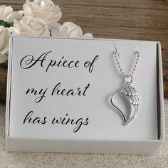 Photo of Un morceau de mon cœur a des ailes, un mémorial pour papa, maman, sœur, frère, tante, oncle, bébé, fausse couche, perte infantile, collier en argent sterling