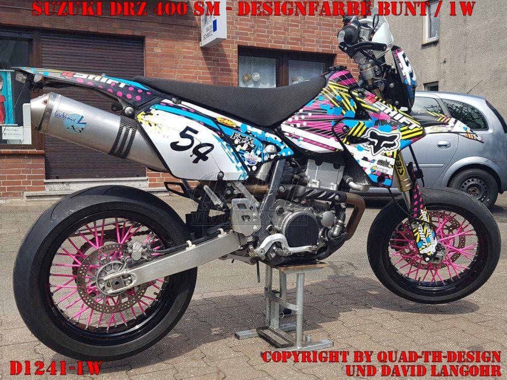 eine suzuki drz 400 sm mit dem d1241 fox dekor mit der. Black Bedroom Furniture Sets. Home Design Ideas