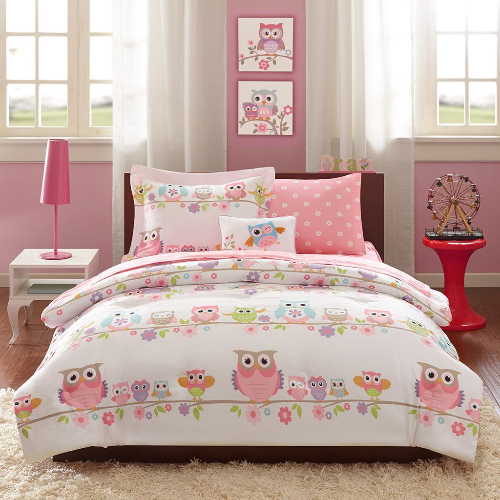 Pink Owl Bedding Twin Or Full Comforter Set Bed In A Bag Sheets Pillow