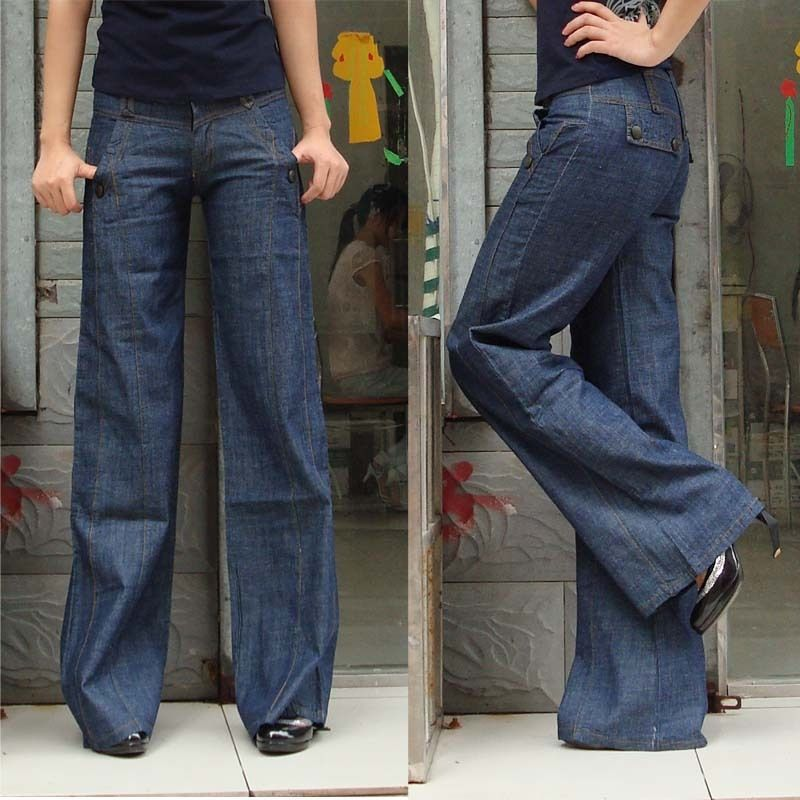 Free shipping women jeans,female pants,wide leg casual jeans loose ...