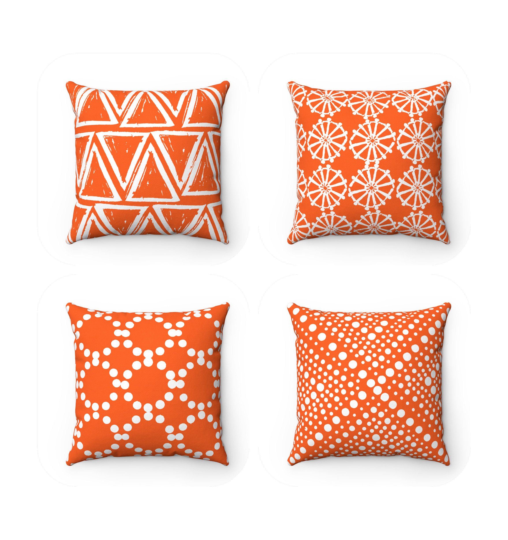 Outdoor Throw Pillow Orange
