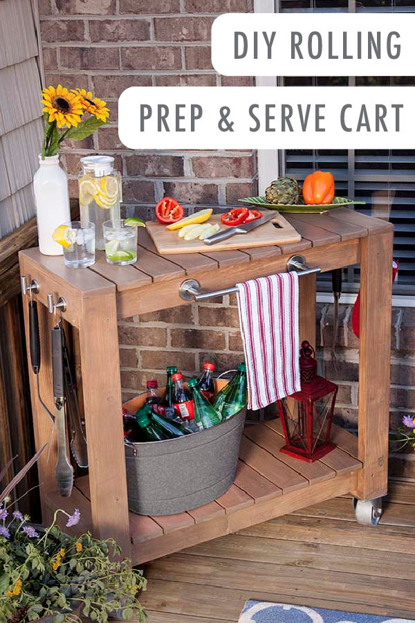 Diy Rolling Prep And Serve Cart Diy Outdoor Bar Diy Outdoor Outdoor Serving Cart