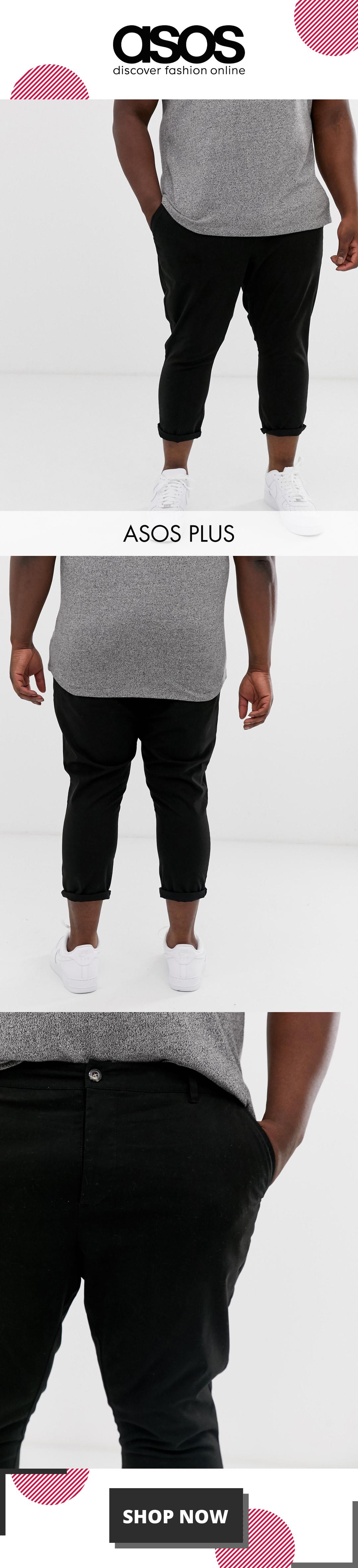 ASOS DESIGN Plus skinny super cropped chinos in black