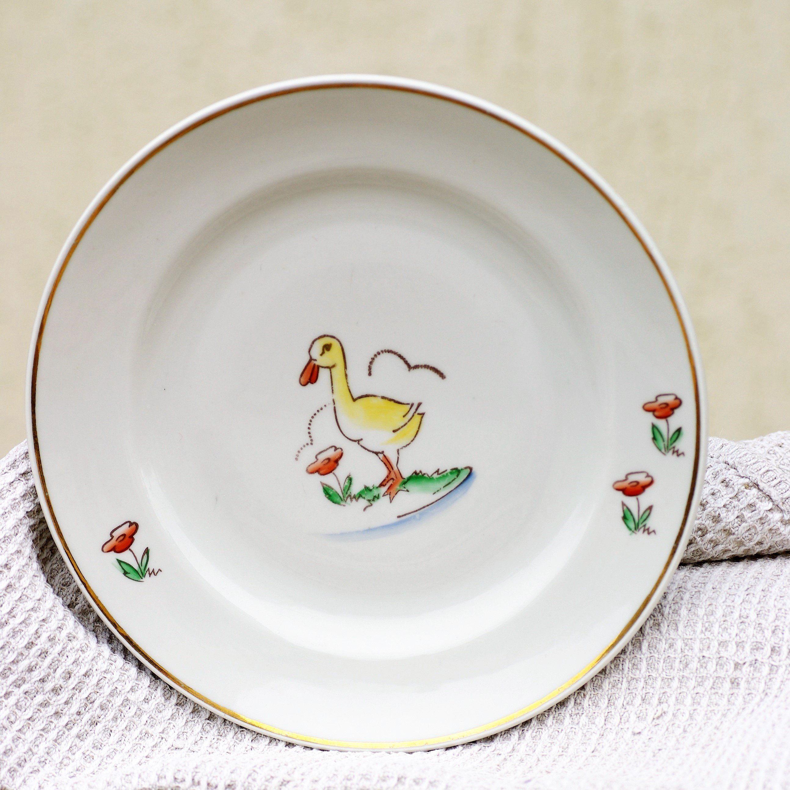 Soviet Kids Plate 1970s Childs Plate Children Soviet Tableware Duck And Flowers Farmhouse Kitchen Riga Porcelain Kids Plates Kids Dishware Tableware