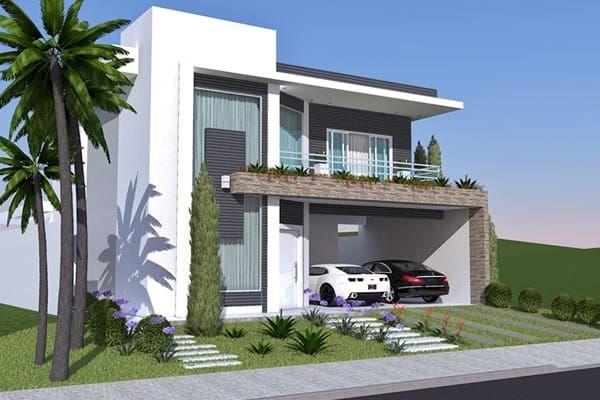 Dos plantas con doble altura y altillo pies planos de for Modelos de casas minimalistas de dos plantas