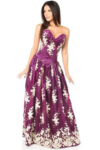 top drawer premium plum floral steel boned long corset