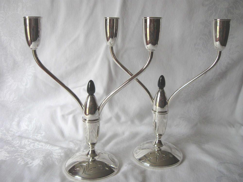 Gorham Celeste Sterling Silver Candelabras Candle Sticks Holders MidCentury 1335 #Gorham