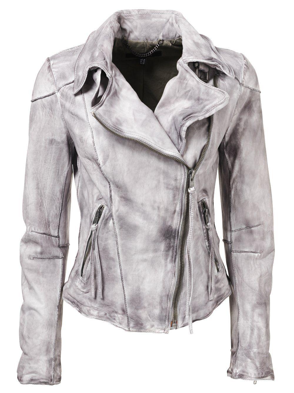 Cortez Raw Seam Leather Biker Jacket in Dark Clouds
