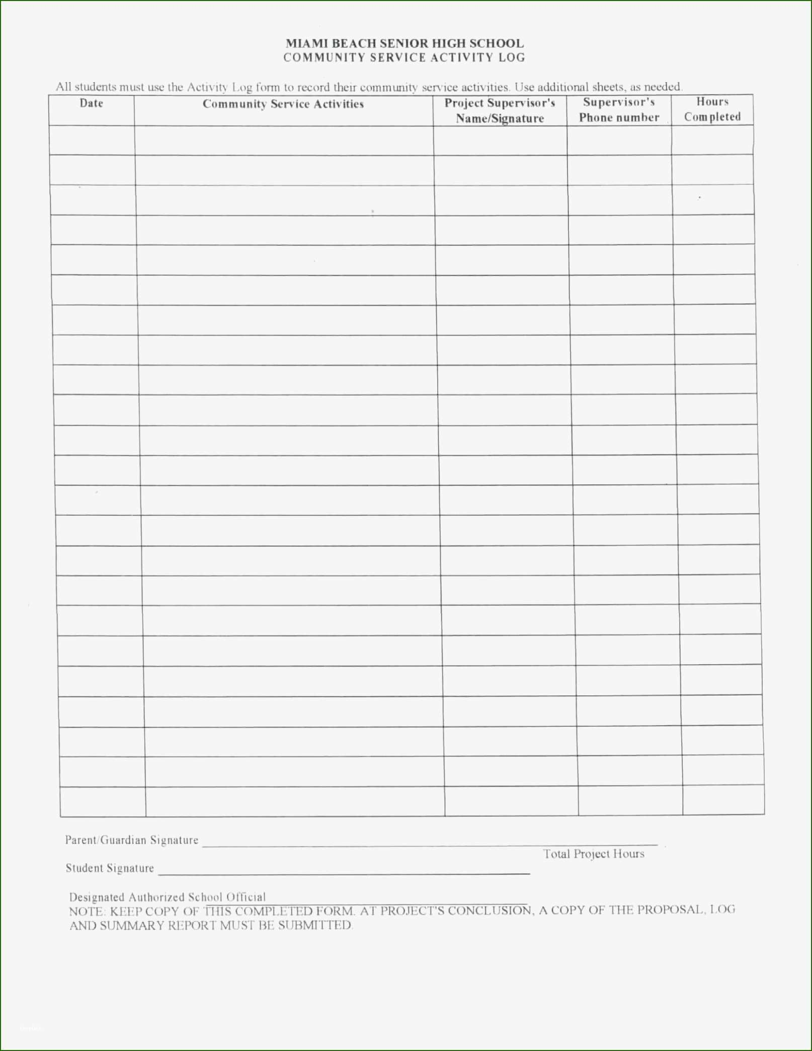 Attractive Volunteer Hours form Template with Photos in